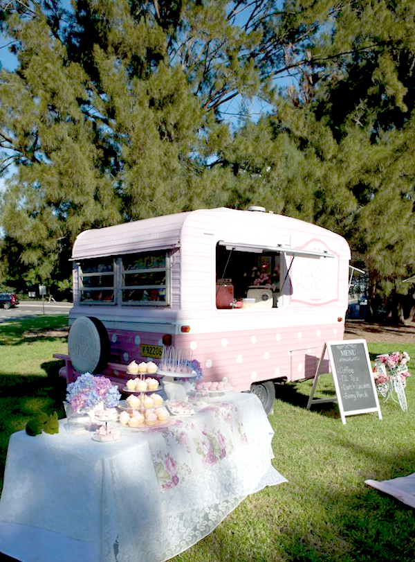 Sweet Jane's traveling teahouse cupcake trailer birthday party via Kara's Party Ideas #tea #party #jane #treehouse #sweet #idea (11)