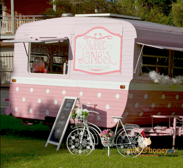 Sweet Jane's traveling teahouse cupcake trailer birthday party via Kara's Party Ideas #tea #party #jane #treehouse #sweet #idea (8)