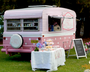 Sweet Jane's traveling teahouse cupcake trailer birthday party via Kara's Party Ideas #tea #party #jane #treehouse #sweet #idea (7)