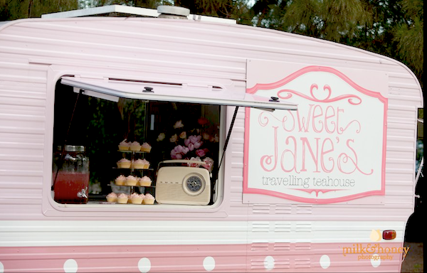 Sweet Jane's traveling teahouse cupcake trailer birthday party via Kara's Party Ideas #tea #party #jane #treehouse #sweet #idea (4)
