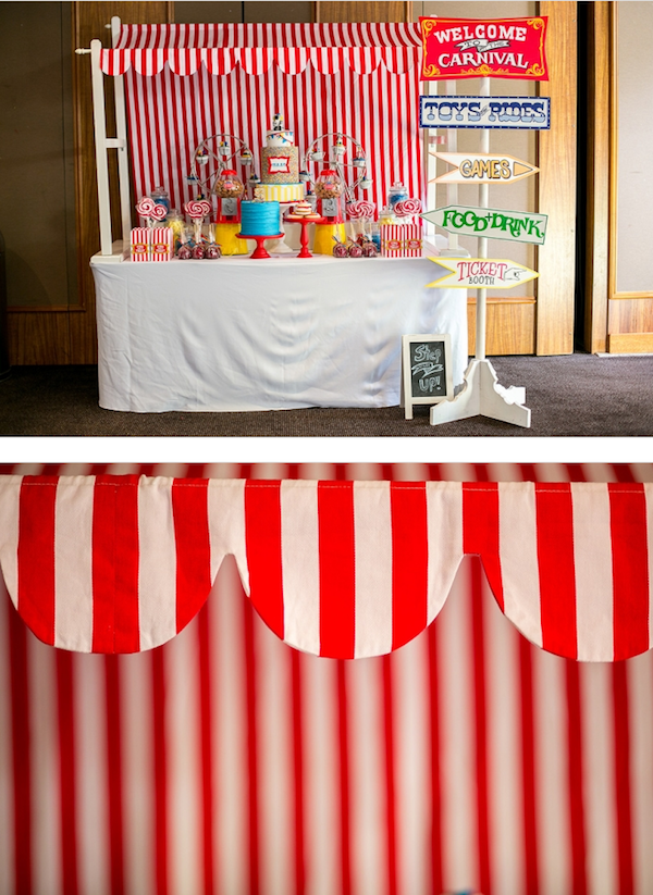 Big Top Circus Carnival themed birthday party FULL OF IDEAS! Via Kara's Party Ideas KarasPartyIdeas.com #circus #carnival #fair #birthday #party #supplies #ideas #decor #idea (17)