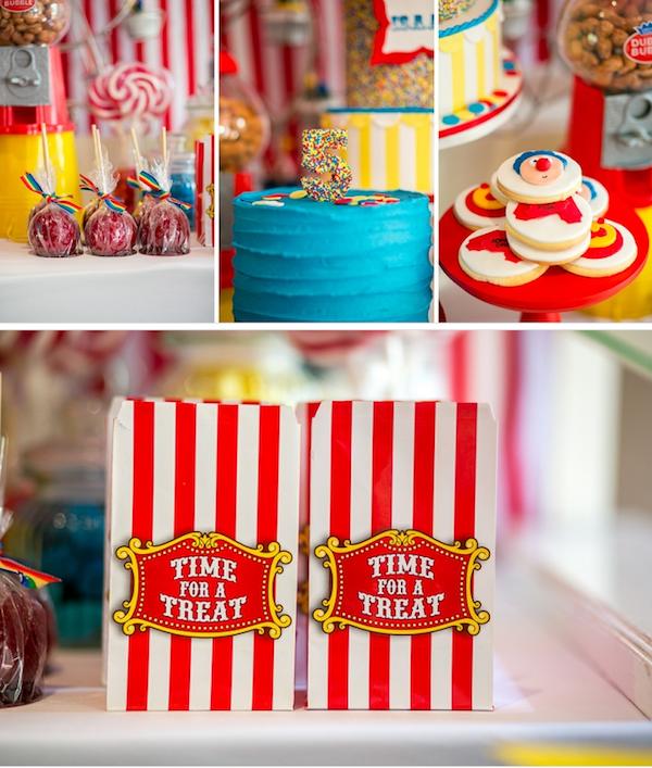 Big Top Circus Carnival themed birthday party FULL OF IDEAS! Via Kara's Party Ideas KarasPartyIdeas.com #circus #carnival #fair #birthday #party #supplies #ideas #decor #idea (15)