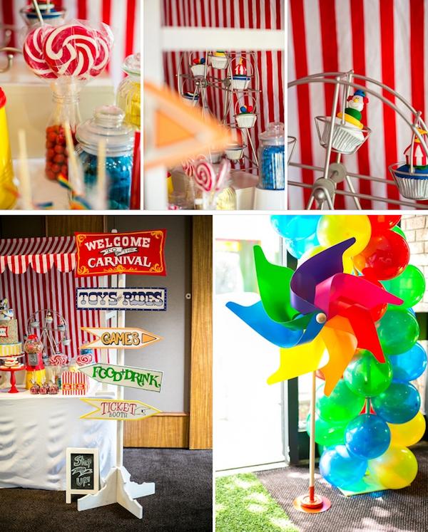 Big Top Circus Carnival themed birthday party FULL OF IDEAS! Via Kara's Party Ideas KarasPartyIdeas.com #circus #carnival #fair #birthday #party #supplies #ideas #decor #idea (14)