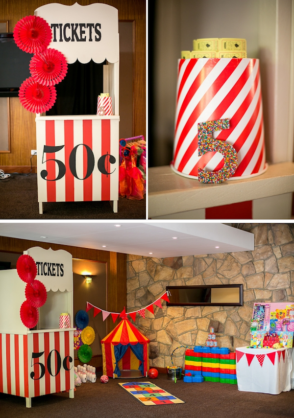 Big Top Circus Carnival themed birthday party FULL OF IDEAS! Via Kara's Party Ideas KarasPartyIdeas.com #circus #carnival #fair #birthday #party #supplies #ideas #decor #idea (11)