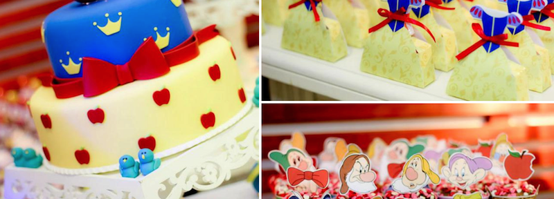 Snow White themed birthday party via Kara's Party Ideas | KarasPartyIdeas.com #snow #white #party #idea #cake