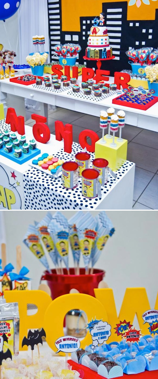 Superhero Super Hero birthday party with SO MANY cute ideas!! Via KarasPartyIdeas.com #superhero #superman #super #hero #batman #birthday #party #idea