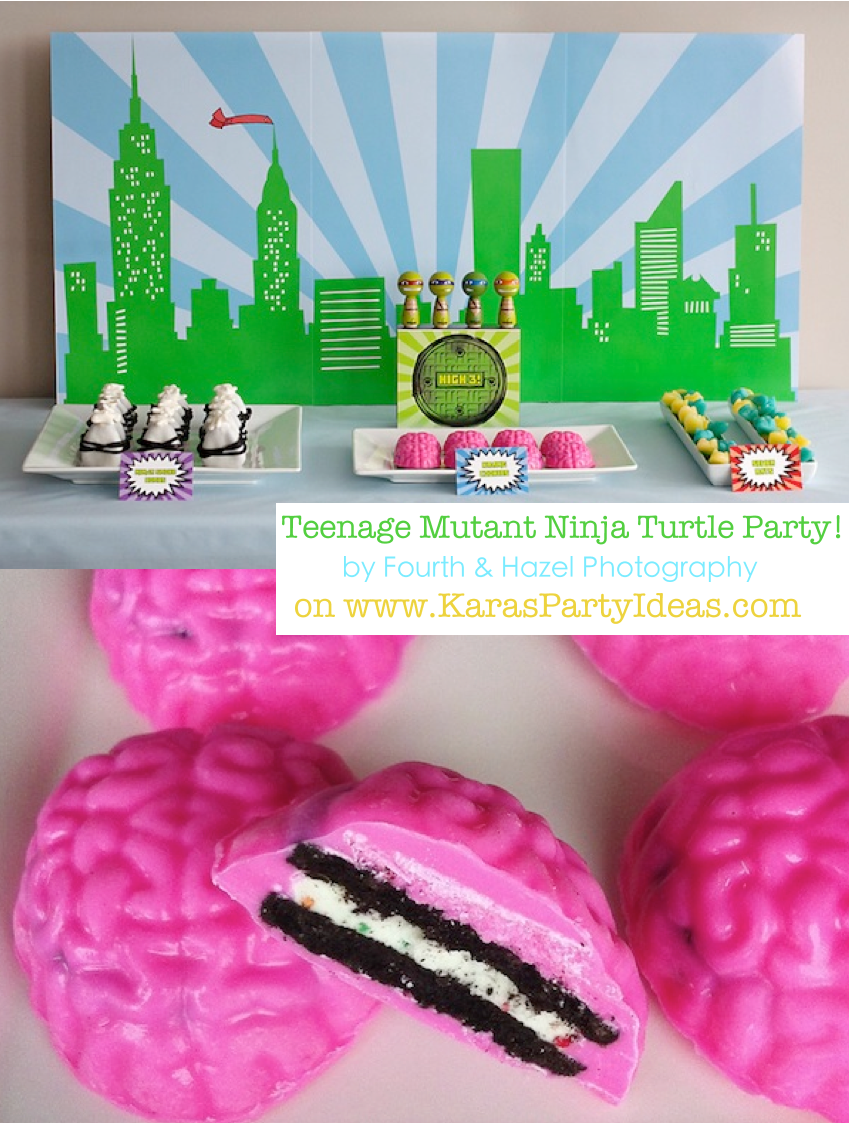 Teenage Mutant Ninja Turtle Party via Kara's Party Ideas #ninja #turtle #party #idea #cake #supplies