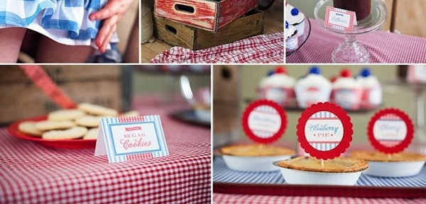 Vintage 4th of July or Memorial Day Picnic Party FULL of ideas! PRINTABLES, too! Via KAra's Party Ideas KArasPartyIdeas.com #picnic #4th #july #memorial #party #ideas #food #recipes #vintage #printables #summer