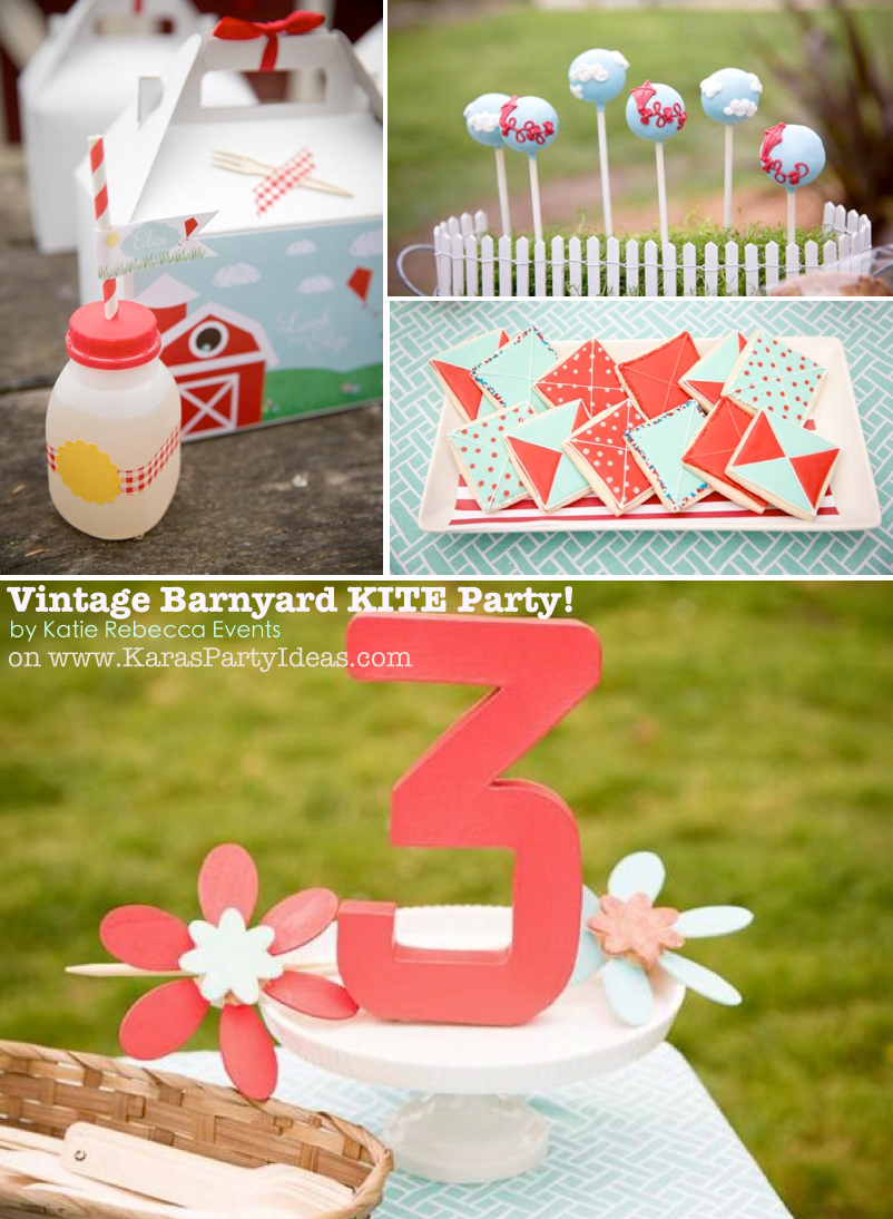 Vintage Barnyard KITE themed birthday party via Kara's Party Ideas | KarasPartyIdeas.com #farm #barn #birthday #party #kite #idea