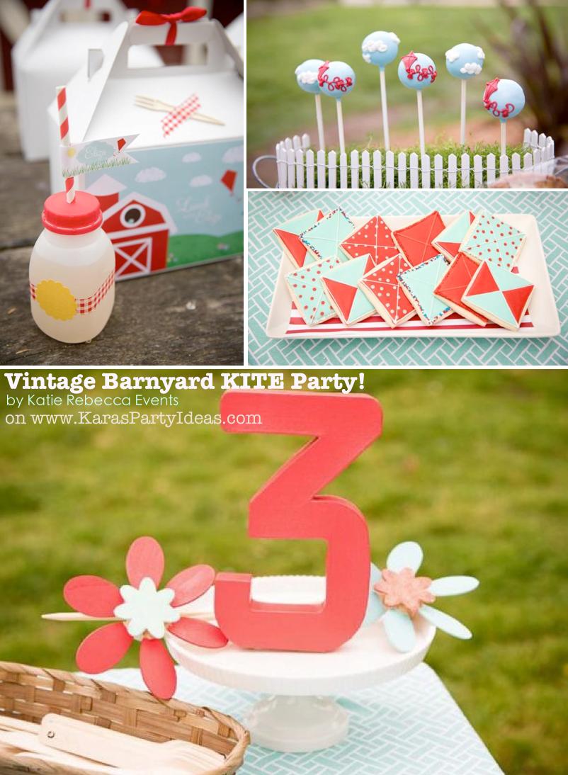 Vintage Barnyard KITE themed birthday party via Kara's Party Ideas | KarasPartyIdeas.com #farm #barn #birthday #party #kite #idea