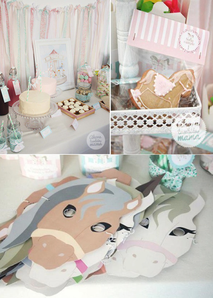 Vintage Carousel themed birthday party with SO many cute ideas! Via Kara's Party Ideas KarasPartyIdeas.com #carousel #horse #vintage #party #ideas #birthday #cake #decor #idea