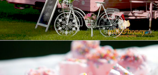 Vintage High Tea themed birthday party with tons of ideas! Including a traveling high tea teahouse! SO cute! Via Kara's Party Ideas KarasPartyIdeas.com #tea #party #ideas #cake #vintage #hightea #trailer #idea