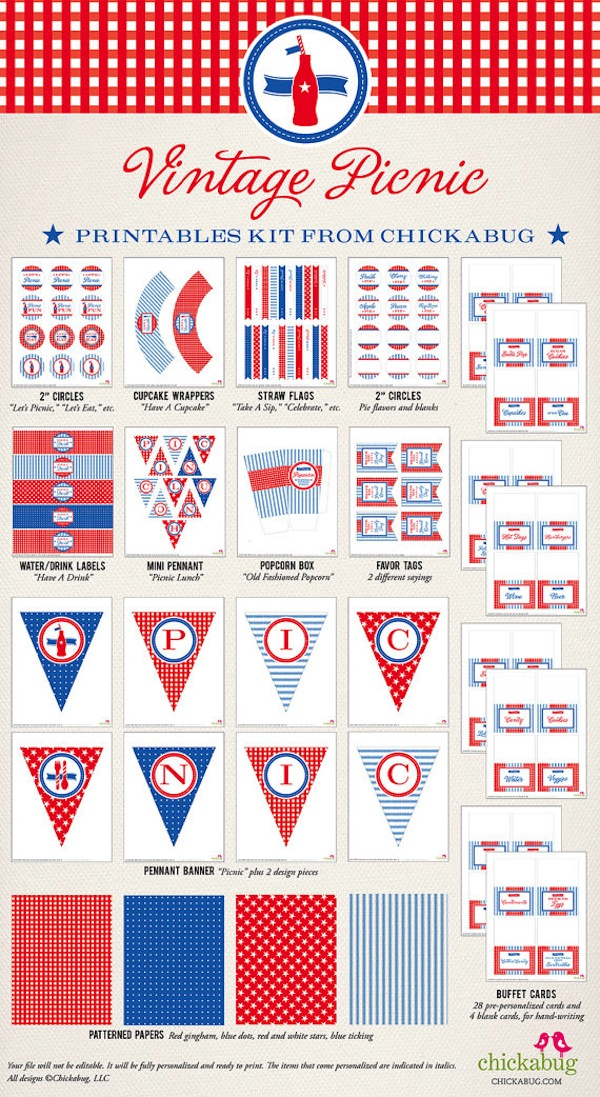 Vintage Picnic Patriotic 4th of July Printable Party Pack found via Kara's Party Ideas KarasPartyIdeas.com #memorial #day #picnic #recipes #4th #july #party #ideas #summer #printables #vintage