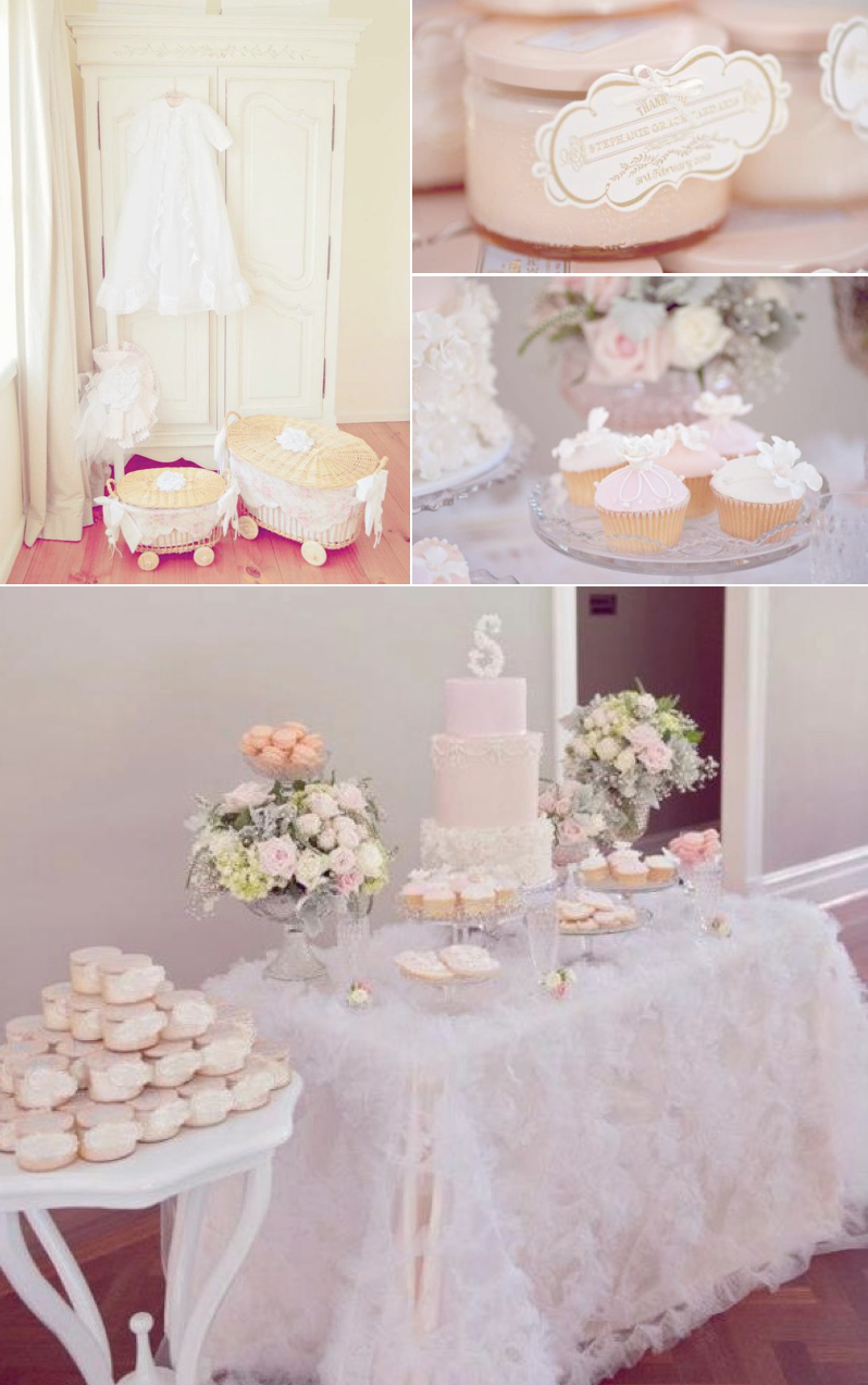 Kara 39 s party ideas vintage pink christening party for Baby girl baptism decoration ideas