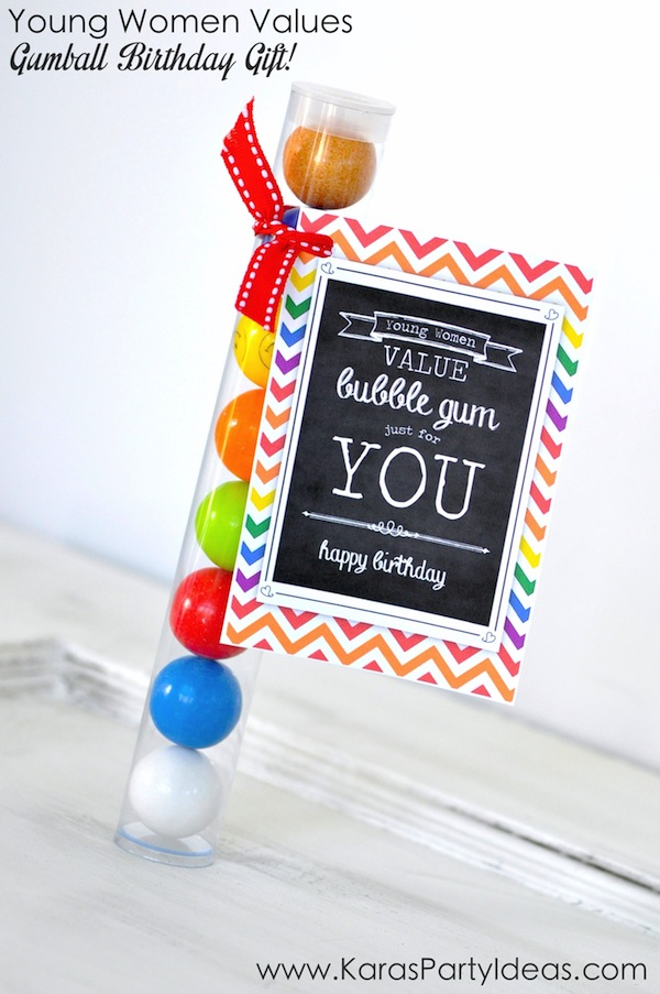 Young Women Values Gumball Birthday GIFT IDEA! Click for tag and tubes! Via Kara's Party Ideas KarasPartyIdeas.com #yw #birthday #gift #ideas #tag #printable