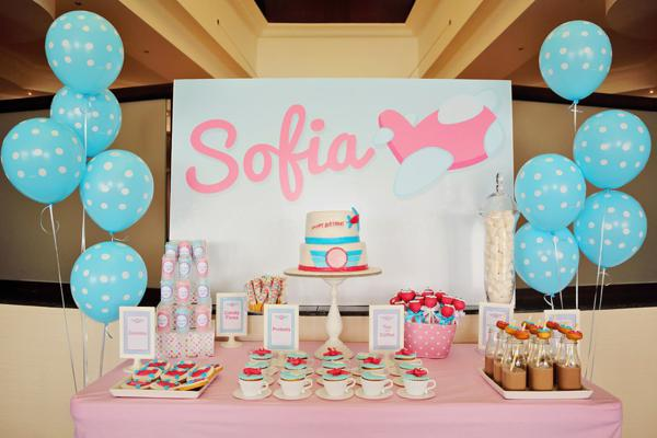 Karas Party Ideas Girly Airline Airplane Plane Themed 5th Birthday Planning