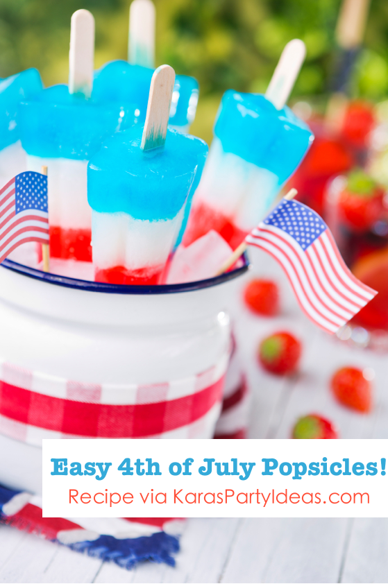 Easy 4th of July layered homemade popsicles! Recipe found on Kara's Party Ideas KarasPartyIdesa.com #4th #july #popsicle #bbq #treat #recipe