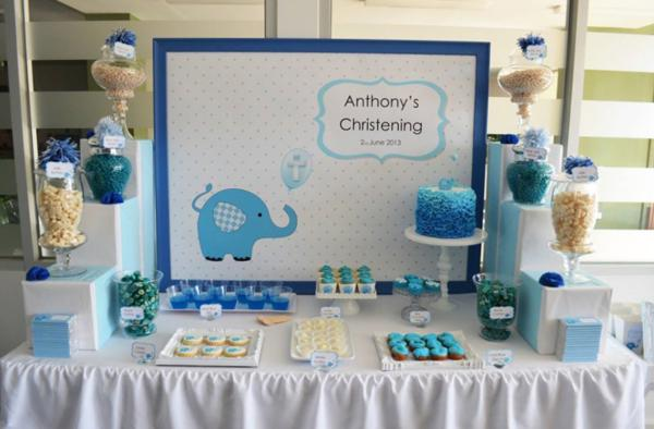 Blue Elephant Christening Party via Kara's Party Ideas | KarasPartyIdeas.com #blue #elephant #boy #christening #baptism #party #ideas (9)