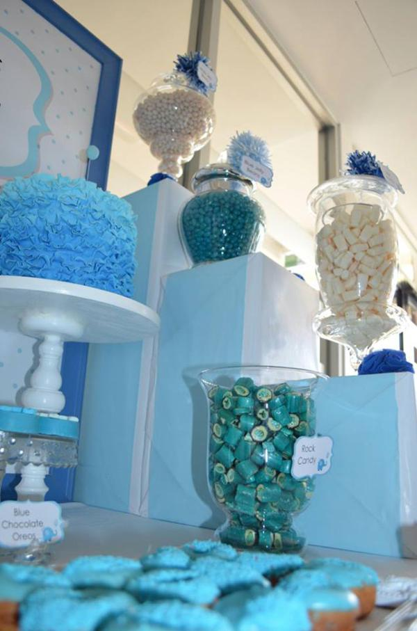 Kara 39 s party ideas blue elephant christening party via for Baby girl baptism decoration ideas