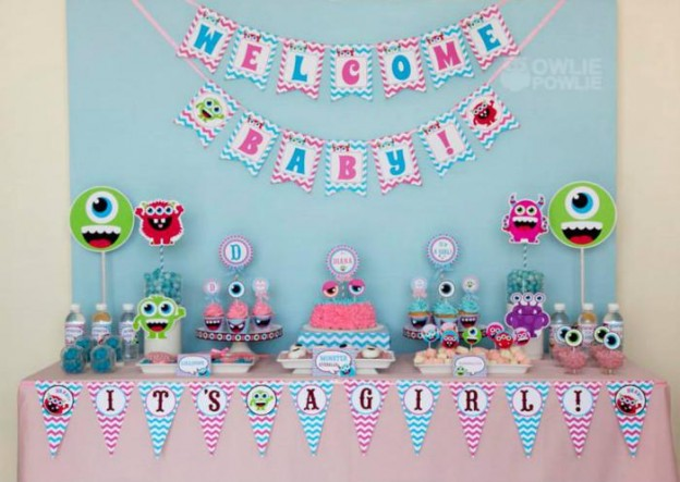 Girly Monster Baby Shower via KarasPartyIdeas.com #monster #baby #shower #girl #idea #planning (9)