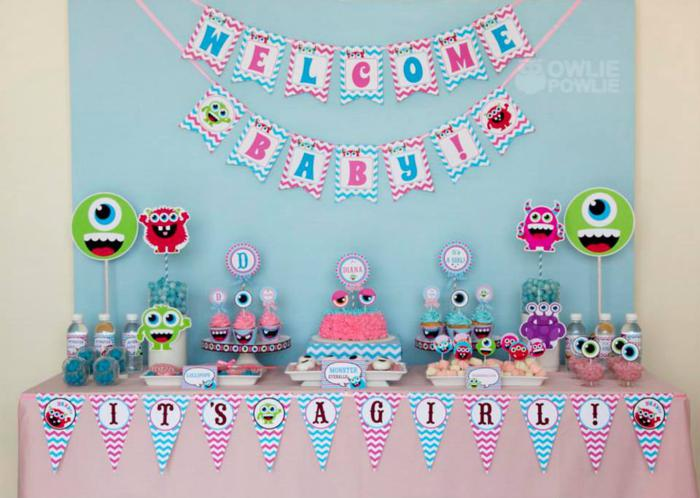 kara 39 s party ideas girly monster baby shower party. Black Bedroom Furniture Sets. Home Design Ideas