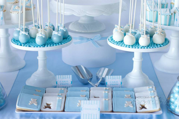 Blue Christening Birthday Party via Kara's Party Ideas | Kara'sPartyIdeas.com #blue #christening #birthday #party #supplies #ideas (12)