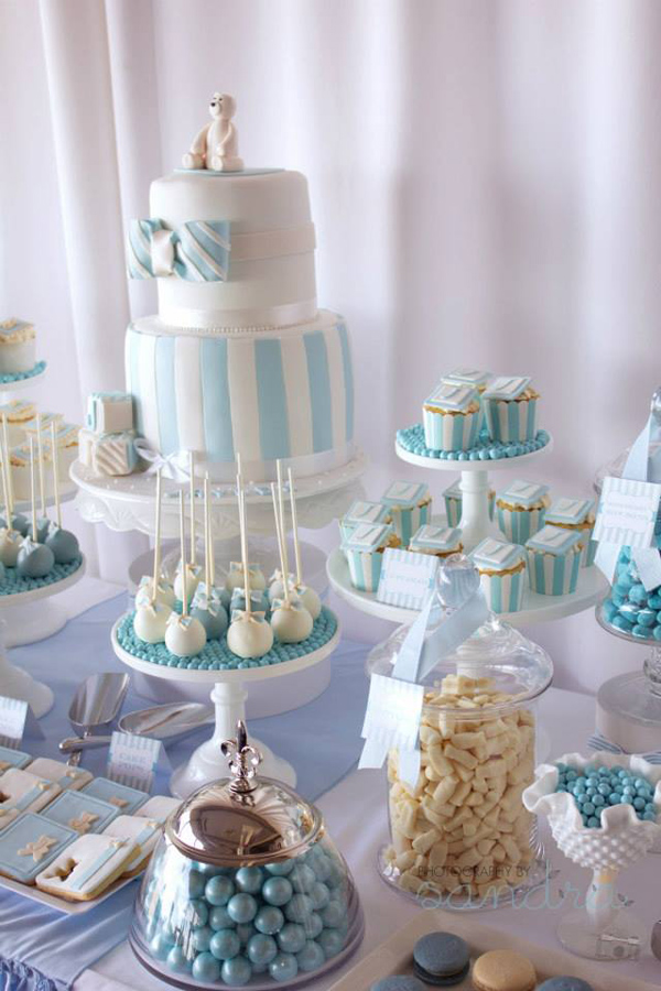 Blue Christening Birthday Party via Kara's Party Ideas | Kara'sPartyIdeas.com #blue #christening #birthday #party #supplies #ideas (8)