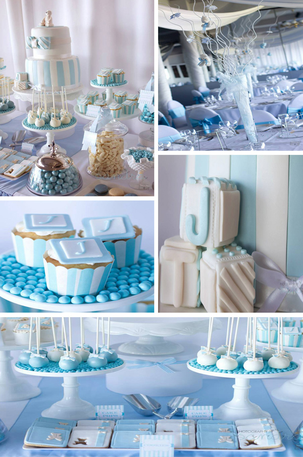 Kara 39 s party ideas blue christening first birthday party - Deco pour baby shower ...