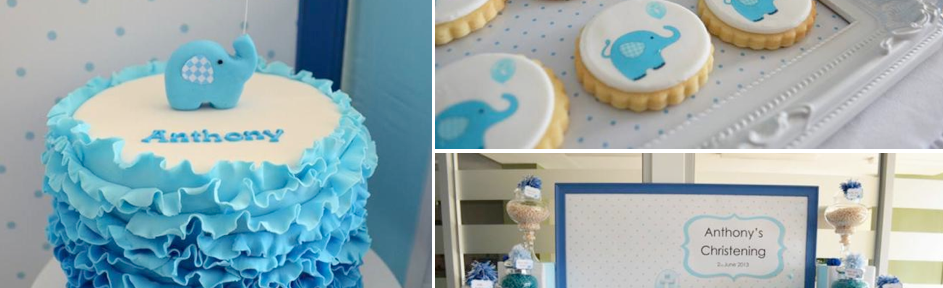 Blue Elephant Christening Party via Kara's Party Ideas KarasPartyIDeas.com