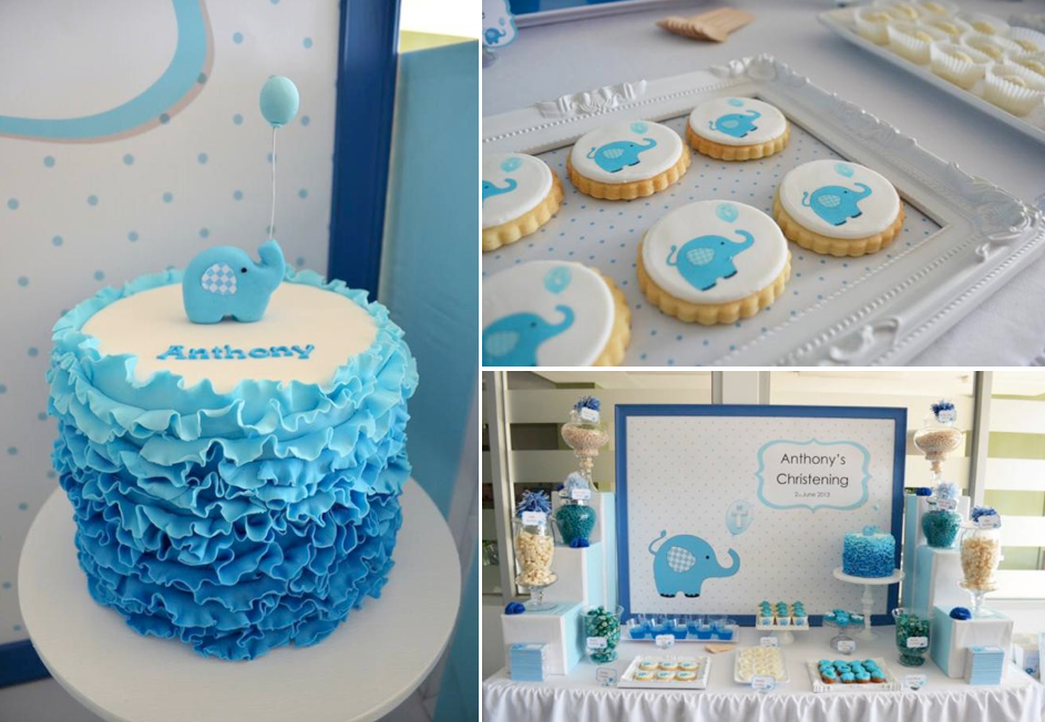 Kara 39 s party ideas blue elephant christening party for Baby baptism decoration ideas