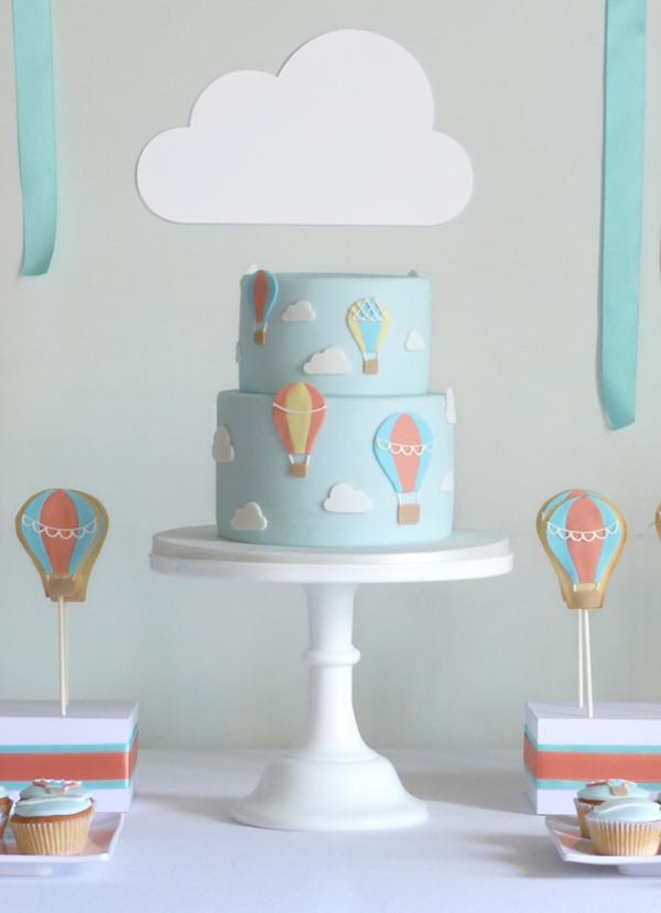 Hot Air Balloon 1st Birthday Party Ideas + Cake via Kara
