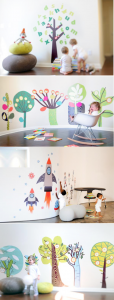 Chic FABRIC WALL DECALS : ART with promo code! Via Kara's Party Ideas KarasPartyIDeas.com #wall #decals #kids #fabric #modern #vinyl