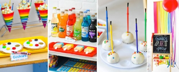 Colorful art party via Kara's Party Ideas KarasPartyIdeas.com