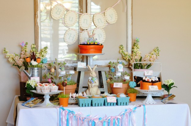 Easter Peter Rabbit Party Ideas Dessert Table