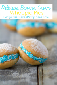Delicious BANANA CREAM WHOOPIE PIE RECIPE via Kara's Party Ideas KarasPartyIdeas.com #whoopie #mini #pie #recipe #party #dessert #treats #pies #idea