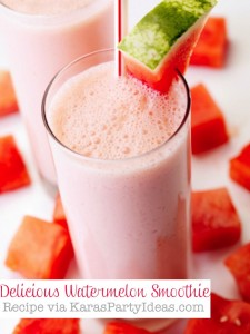 Delicious WATERMELON Smoothie Recipe that's super easy! Recipe and more party recipe ideas via Kara's Party Ideas KarasPartyIDeas.com #watermelon #smoothie