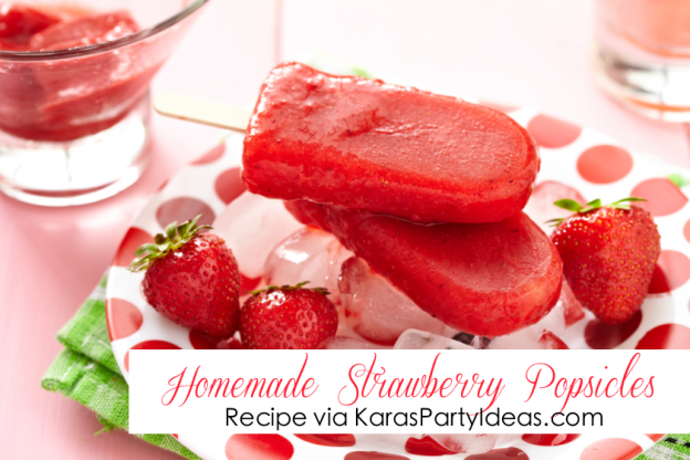 EASY homemade STRAWBERRY POPSICLE recipe via Kara's Party IDeas KarasPartyIdeas.com #strawberry #dessert #popsicle #recipe #summer #party #ideas #treat #idea