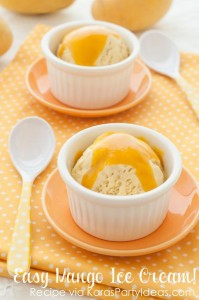 Easy Mango Ice Cream recipe via Kara's Party Ideas KarasPartyIdeas.com #dessert #icecream #ice #cream #recipe #mango #easy