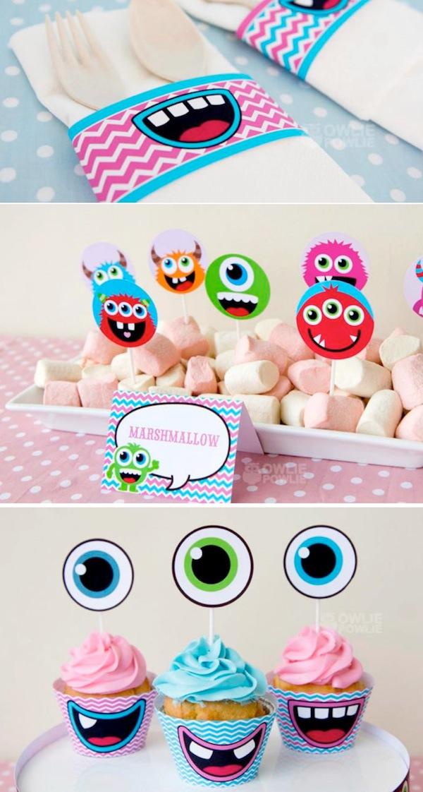 kara 39 s party ideas girly monster themed baby shower full. Black Bedroom Furniture Sets. Home Design Ideas