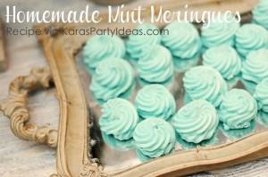 Homemade Mint Meringues recipe via Kara's Party Ideas KarasPartyIdeas.com #homemade #mint #green #meringues #easy #recipe #party #dessert #treat #idea