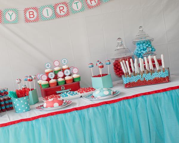 Kara 39 s party ideas aqua and red polka dot party via kara 39 s for Polka dot party ideas