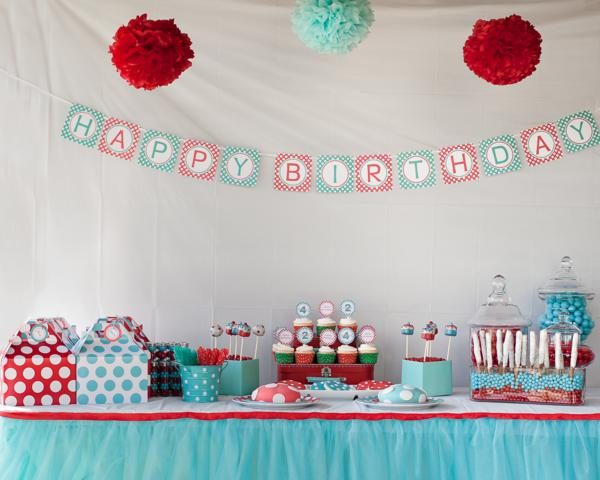 Aqua and red polka dot party via kara s party ideas karaspartyideas