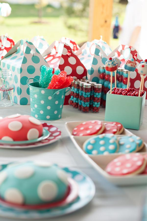 kara 39 s party ideas red aqua gender neutral polka dot party