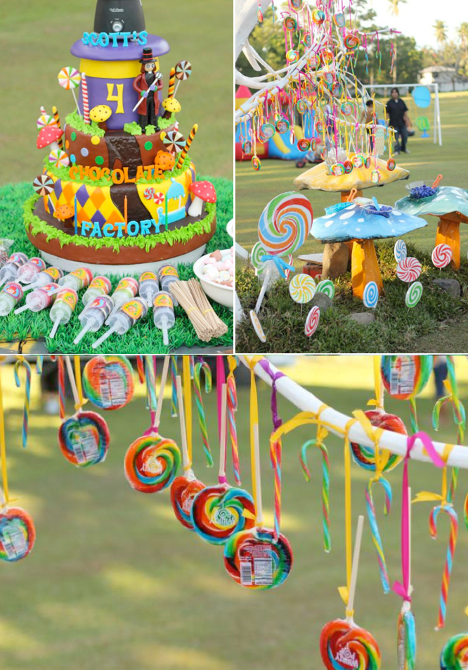 Karas Party Ideas Willy Wonka Chocolate Factory Candy Birthday