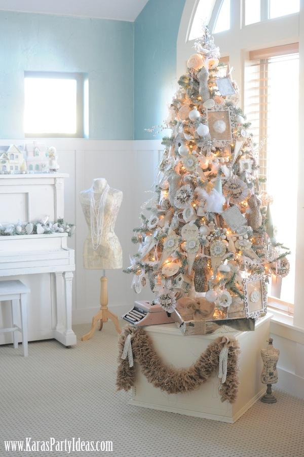 kara 39 s party ideas shabby chic christmas tree archives. Black Bedroom Furniture Sets. Home Design Ideas