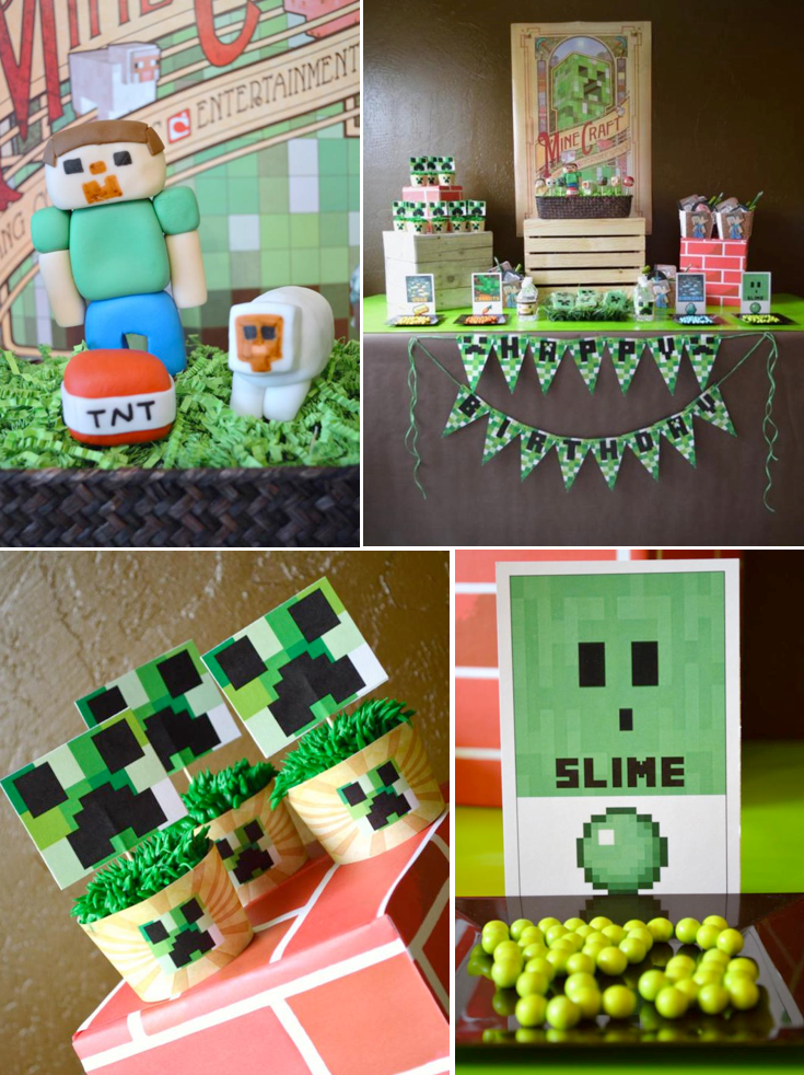 Vintage minecraft video game boy birthday party planning for Decoration goods