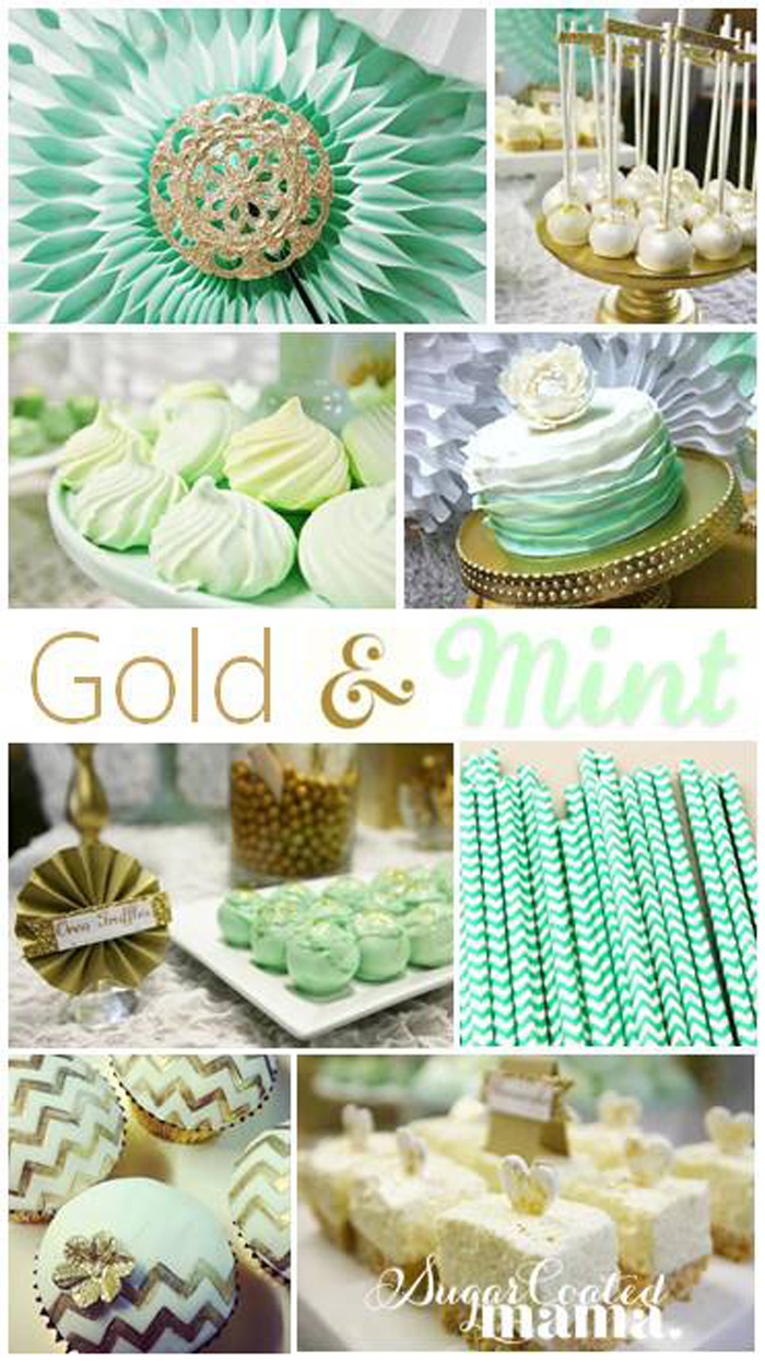 Kara's Party Ideas Mint and Gold Party with LOTS of REALLY ...