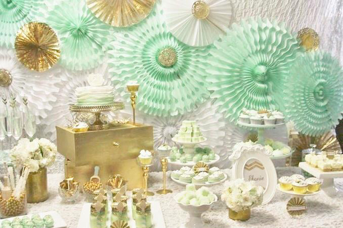 Karas Party Ideas Mint And Gold Party Planning Ideas Supplies Cake