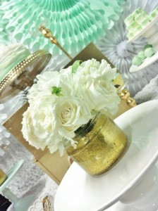 Mint and Gold Party via Kara's Party Ideas | Kara'sPartyIdeas.com #mint #and #gold #party #supplies #ideas #decorations (5)