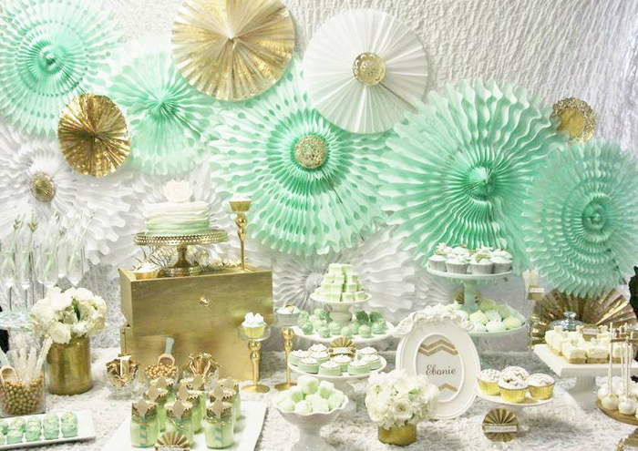 Kara S Party Ideas Mint And Gold Party Planning Ideas
